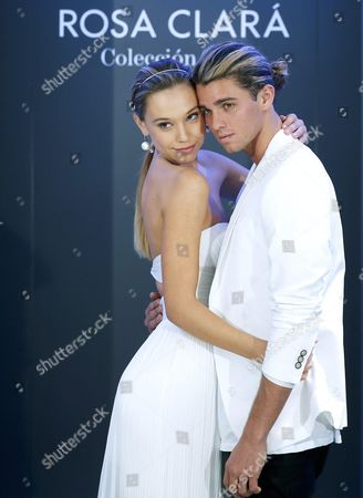 Stock Picture of Instagram Users Jay Alvarrez (r) and Partner Alexis Ren (l) Both of the Us Pose For the Media During a Presentation of the Wedding Fashion Label Rosa Clara in Barcelona Spain on 25 April 2016 the Couple Have More Than Seven Millions Followers on Their Instagram Social Media Account Spain Barcelona