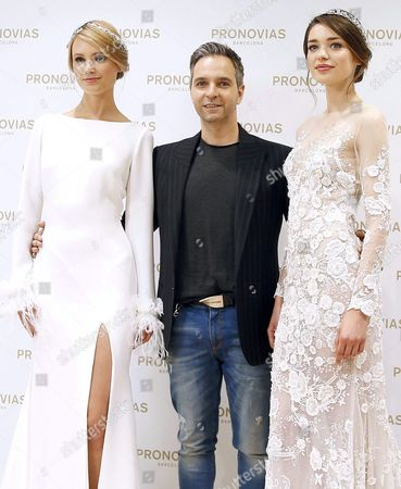 Pronovias Creative Director Herve Moreau (c) Poses with Two Models During the Presentation of His New Colletction in Barcelona Spain 25 April 2016 on the Eve of the Begining of the Bridal Fashion Week That Will Run From 26 to 29 April Spain Barcelona