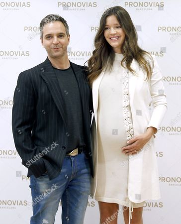 Pronovias Creative Director Herve Moreau (l) Poses with Spanish Model Malena Costa (r) During the Presentation of His New Collection in Barcelona Spain 25 April 2016 on the Eve of the Begining of the Bridal Fashion Week That Will Run From 26 to 29 April Spain Barcelona