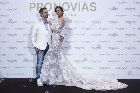 Pronovias' Creative Director French Herve Moreau (l) Poses with Russian Model Irina Shayk (r) Before the Pronovias' Parade on the Occassion of the Barcelona Bridal Fashion Week Held in Barcelona Spain 29 April 2016 the Event Runs From 26 to 29 April Spain Barcelona