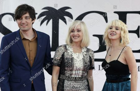 Us Film Director Jackson Stewart (l) and Actresses Barbara Crampton (c) and Brea Grant (r) Pose For Photos During the Presentation of Their Film 'Beyond the Gates' at the 49th Sitges International Fantastic Film Festival in Sitges Catalonia Northeastern Spain 09 October 2016 the Festival Runs From 07 to 16 October Spain Sitges