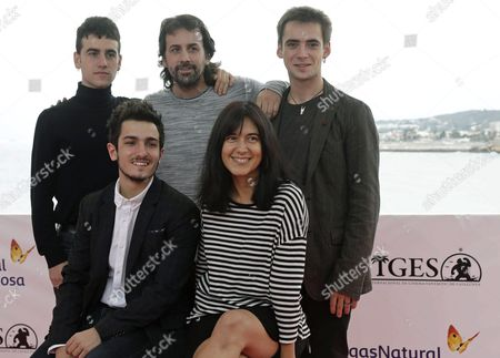 Stock Photo of Spanish Filmmakers Isaki Lacuesta (c 2-back) Isa Campo (r-front) and Actors Alex Monner (l-back) Mikel Iglesias (l-front) and Igor Szpakowski (r-back) Pose For Photographers During the Presentation of Their Film 'La Propera Pell' (lit the Next Skin) at Part of the 49th Sitges International Fantastic Film Festival in Sitges Catalonia Northeastern Spain 09 October 2016 the Festival Runs From 07 to 16 October 2016 Spain Sitges