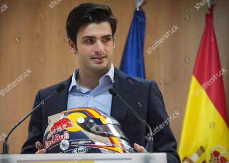 Spanish Formula One Driver Carlos Sainz Jr Cries After Being Named New Ambassador of the 'Maria De Villota Legacy' During an Act Held in Madrid Spain on 01 June 2016 Maria De Villota who was One of the First Female who Test the Formula One Vehicles For Marussia Team Died in 2013 After a Car Accident in 2013 Spain Madrid