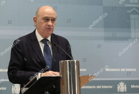 Spanish Acting Minister of Interior Jorge Fernandez Diaz Addresses the Media at the End of an Emergency Anti-terrorist Meeting Held in Reaction to the Nice Terror Attack in Madrid Spain 15 July 2016 According to Reports at Least 84 People Died and Many Were Wounded After a Truck Drove Into the Crowd on the Famous Promenade Des Anglais During Celebrations of Bastille Day in Nice Late 14 July French Government Has Announced a Three Days of National Mourning After the Attack in Nice Spain Madrid