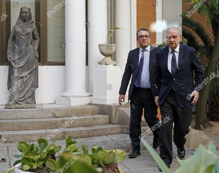 Spanish Acting Minister of Interior Jorge Fernandez Diaz (r) Arrives to an Urgent Anti-terrorist Meeting One Day After Nice's Terror Attack During the Bastille Day Celebrations in Madrid Spain 15 July 2016 According to Reports at Least 84 People Died and Many Were Wounded After a Lorry Drove Into the Crowd on the Famous Promenade Des Anglais During Celebrations of Bastille Day the Attacker a 31-year Old French-tuninsian Man was Shot Dead by the French Police Anti-terrorism Police Took Over the Investigation in the Incident Media Added Spain Madrid