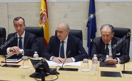 Spanish Acting Minister of Interior Jorge Fernandez Diaz (c) State Secretary of Security Francisco Martinez Vazquez (l) and the Director of the Spanish National Intelligence Center (cni) Felix Sanz Roldan Attend an Urgent Anti-terrorist Meeting One Day After Nice's Terror Attack During the Bastille Day Celebrations in Madrid Spain 15 July 2016 According to Reports at Least 84 People Died and Many Were Wounded After a Lorry Drove Into the Crowd on the Famous Promenade Des Anglais During Celebrations of Bastille Day the Attacker a 31-year Old French-tuninsian Man was Shot Dead by the French Police Anti-terrorism Police Took Over the Investigation in the Incident Media Added Spain Madrid