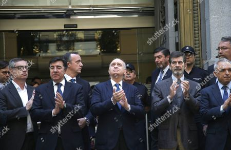Spanish Acting Minister of Interior Jorge Fernandez Diaz (c) Applauds After Observing a Minute of Silence to Honour the Victims of the Nice Terror Attack at the End of an Emergency Anti-terrorist Meeting in Madrid Spain 15 July 2016 According to Reports at Least 84 People Died and Many Were Wounded After a Truck Drove Into the Crowd on the Famous Promenade Des Anglais During Celebrations of Bastille Day in Nice Late 14 July French Government Has Announced a Three Days of National Mourning After the Attack in Nice Spain Madrid