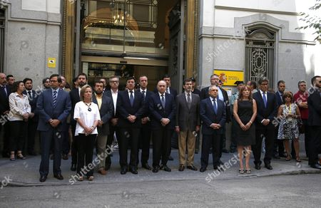 Spanish Acting Minister of Interior Jorge Fernandez Diaz (c) Leads a Minute of Silence to Honour the Victims of the Nice Terror Attack at the End of an Emergency Anti-terrorist Meeting in Madrid Spain 15 July 2016 According to Reports at Least 84 People Died and Many Were Wounded After a Truck Drove Into the Crowd on the Famous Promenade Des Anglais During Celebrations of Bastille Day in Nice Late 14 July French Government Has Announced a Three Days of National Mourning After the Attack in Nice Spain Madrid