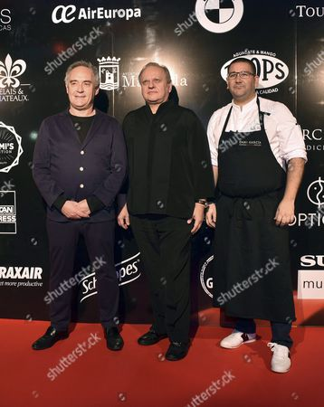 Spanish Chefs Ferran Adria (l) and Dani Garcia (r) Pose with Joel Robuchon (c) Prior to the Dinner-tribute For French Cook Held at Mabella' S Puente Romano Hotel in Malaga Spain 18 April 2016 Spain Malaga