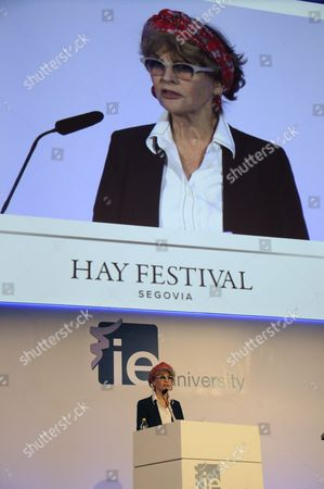 Stock Picture of British Actress Julie Christie Takes Part in a Reading of Nicolas Guillen and Pablo Neruda Poems at the Hay Festival in Segovia Spain 24 September 2016 Spain Segovia