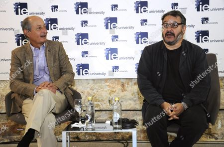 Hay Festival Founder Peter Florence (r) of Britain Chats with Spanish Economist Fernando Fernandez Mendez De Andes (l) During the Conference 'Deconstructing Brexit' in Segovia Spain 23 September 2016 They Analyzed the Repercussion of the Exit of Great Britain From the European Union in the Field of Culture Including the Organization of the Festival Spain Segovia