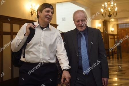 British Physicist and Director of the Max Planck Institute For the Science of Light in Erlangen Germany Phillip Russell (r) and Nobel Prize in Physics 2010 Andre Geim Arrive to a Press Conference to Introduce the International School on Light Sciences and Technologies Seminar at the Menendez Pelayo International University (uimp) in Santander Northern Spain 23 June 2016 Russel is to Be Made an Honorary Doctor by the Uimp Later Spain Santander