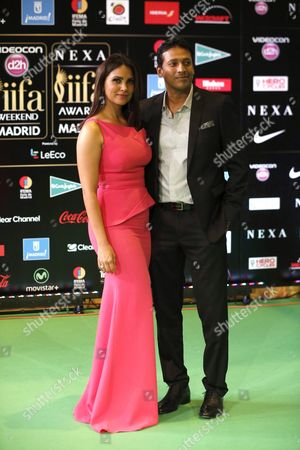 Indian Actress Lara Dutta (l) and Her Husband Indian Tennis Player Mahesh Bhupathi Arrive For the 17th International Indian Film Academy Awards (iifa) Ceremony in Madrid Spain 25 June 2016 the Iifa Awards Are Also Known As Bollywood's Oscars Spain Madrid