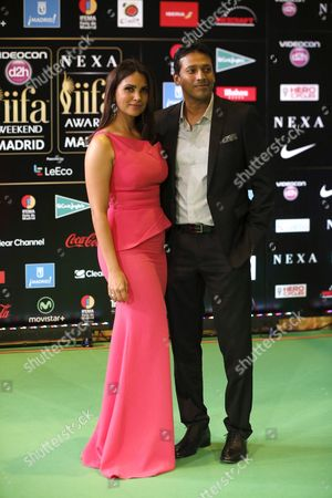 Stock Picture of Indian Actress Lara Dutta (l) and Her Husband Indian Tennis Player Mahesh Bhupathi Arrive at the International Indian Film Academy (iifa) Awards in Madrid Spain 25 June 2016 Spain Madrid