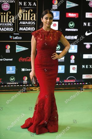 Indian Actress Shriya Saran Poses For Photographers Upon Her Arrival at the International Indian Film Academy (iifa) Awards in Madrid Spain 25 June 2016 Spain Madrid
