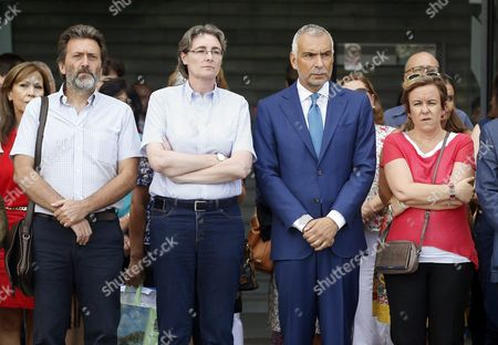 Italian Ambassador in Spain Stefano Sannino (2r) Keeps a Minute of Silence in Memory of the Victims of the Earthquake in Italy Along with Deputy Mayoress of Madrid Marta Higueras (2l) at the City Hall in Madrid Spain 25 August 2016 Spain Madrid