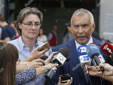 Italian Ambassador in Spain Stefano Sannino (r) Talks to the Media After a Minute of Silence in Memory of the Victims of the Earthquake in Italy Along with Deputy Mayoress of Madrid Marta Higueras (l) at the City Hall in Madrid Spain 25 August 2016 Spain Madrid