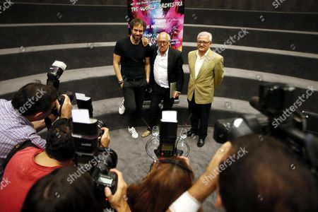 British Composer and Pianist Michael Nyman (c) Poses For the Photographs with the Artistic Director of the Auditorium of the Provincial Council of Alicante Josep Vicent (l) and Regional Mp Cesar Augusto Asencio (r) in Alicante Spain 12 August 2016 Nyman Records His Last Three Symphonies at the Auditorium of the Provincial Council of Alicante Spain Alicante