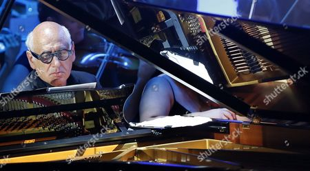 Stock Image of British Composer Michael Nyman Performs During a Charity Concert For the Association of Parents of Children with Cancer at Alicante Auditorium in Alicante Eastern Spain 17 August 2016 Spain Alicante