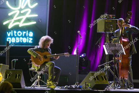 Us Jazz Musician and Guitarist Pat Metheny (l) and Jazz Bassist Ron Carter Perfom on Stage During the 40th Vitoria's Jazz Festival Opening Concert Held in Vitoria Basque Country Northern Spain 16 July 2016 the Festival Runs From 12 to 16 July Spain Vitoria