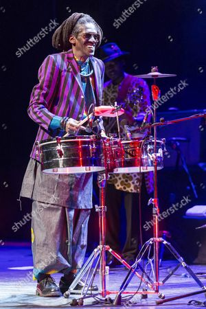 Senegalese Singer and Musician Cheikh Lo (front) Perfoms on Stage at the La Mar De Musicas Music Festival at Batel Auditorium in Cartagena Murcia Spain 18 July 2016 Spain Cartagena