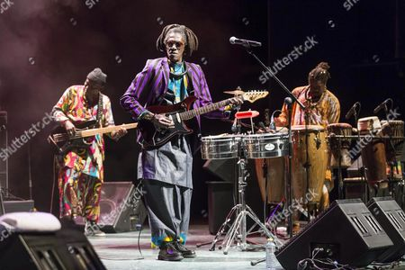 Senegalese Singer and Musician Cheikh Lo (c) Perfoms on Stage at the La Mar De Musicas Music Festival at Batel Auditorium in Cartagena Murcia Spain 18 July 2016 Spain Cartagena