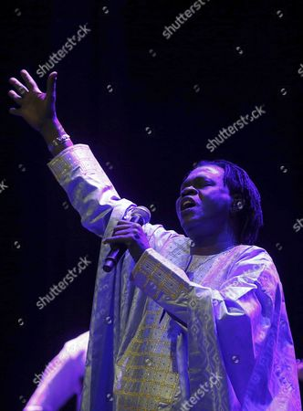 Senegalese Singer Baaba Maal Performs on Stage During a Village Summers Concert Held at the Circo Price Theater in Madrid Spain 24 July 2016 Spain Madrid