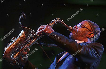 Us' Trumpet Player Kenny Garrett Performs on Stage During the 'Jazz En La Costa' Festival Concert Held in Almu±ecar City Granada Southern Spain 21 July 2016 Spain Granada