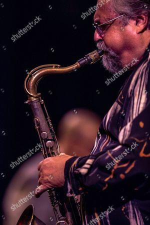 Stock Photo of Us Saxophonist Joe Lovano Performa on Stage During a Concert with the Chucho Valdes and Joe Lovano Quintet Band at the Cervantes Theater in Malaga Spain 25 October 2016 Spain Malaga