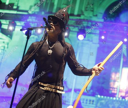 Brazilian Singer and Musician Carlinhos Brown Perfoms on Stage During Concert Held at Maria Pita Square in a Coru±a Galicia Spain 01 August Spain a Coru±a