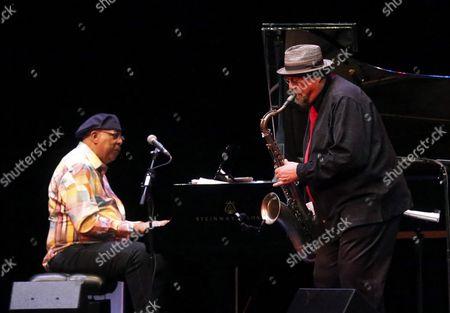 Cuban Pianist Chucho Valdes (l) and Us Saxophonist Joe Lovano (r) Perfom on Stage at Industrial Theater of Gijon Asturias Spain 14 October 2016 Spain Asturias