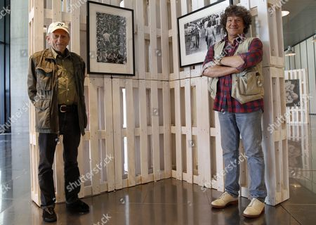 Stock Image of Promoter and Co-founder of the Woodstock Festival Michael Lang (r) and Us Photographer Baron Wolman the First Ever Photographer For the Rolling Stone Music Magazine Pose During an Interview with Spanish International News Agency Efe on the Occassion of the Presentation of the Photo Exhibition 'Woodstock' at the Caja Magica Center in Madrid Spain 16 June 2016 the Exhibitio Opens to the Public From 16 to 18 June Coinciding with the Mad Cool Festival Spain Madrid