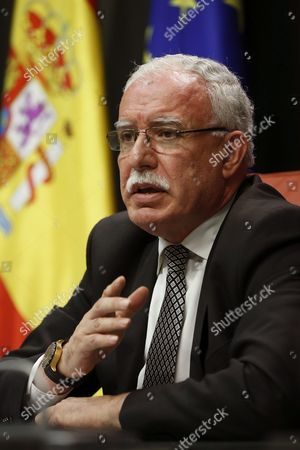 Palestinian Foreign Minister Riad Malki Speaks at a Joint News Conference with Spain's Acting Foreign Minister Jose Manuel Garcia-margallo (unseen) Following Their Meeting at the Palace of Viana in Madrid Spain 14 September 2016 Spain Madrid
