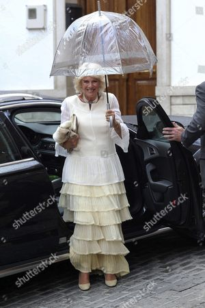 Britain's Camilla Duchess of Cornwall Arrives For the Wedding of the Duke of Wellington's Daughter Lady Charlotte Wellesley with Colombian Billionaire Alejandro Santo Domingo at the Chuch of the Incarnation in Illora Andalusia Southern Spain 28 May 2016 the Wellesley Family Owns a Country House in the Town Spain Granada