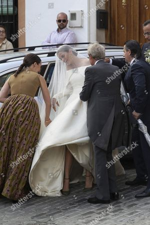 Lady Charlotte Wellesley (2-l) Arrives with Her Father Charles Wellesley Duke of Wellington (2-r) For Her Wedding with Colombian Billionaire Alejandro Santo Domingo (unseen) at the Chuch of the Incarnation in Illora Andalusia Southern Spain 28 May 2016 the Wellesley Family Owns a Country House in the Town Spain Granada