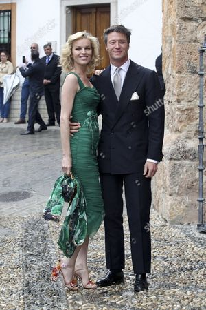 Czech Model Eva Herzigova (l) and Her Partner Gregorio Marsiaj Arrive For the Wedding of the Duke of Wellington's Daughter Lady Charlotte Wellesley with Colombian Billionaire Alejandro Santo Domingo at the Chuch of the Incarnation in Illora Andalusia Southern Spain 28 May 2016 the Wellesley Family Owns a Country House in the Town Spain Granada