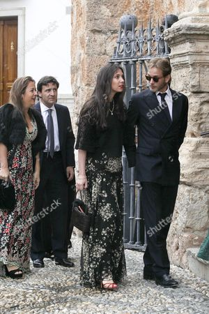 Stock Picture of Monaco's Andrea Casiraghi (r) and His Wife Tatiana Santo Domingo (2-r) Arrive For the Wedding of the Duke of Wellington's Daughter Lady Charlotte Wellesley with Colombian Billionaire Alejandro Santo Domingo at the Chuch of the Incarnation in Illora Andalusia Southern Spain 28 May 2016 the Wellesley Family Owns a Country House in the Town Spain Granada