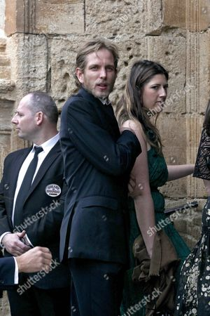 Monaco's Andrea Casiraghi (c) Arrives For the Wedding of the Duke of Wellington's Daughter Lady Charlotte Wellesley with Colombian Billionaire Alejandro Santo Domingo at the Chuch of the Incarnation in Illora Andalusia Southern Spain 28 May 2016 the Wellesley Family Owns a Country House in the Town Spain Granada