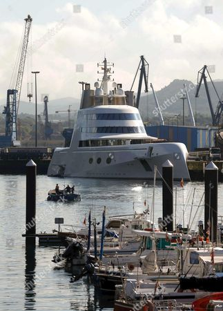 The Yacht Called 'A' Property of the Russian Multimillionaire Andrey Melnichenko and Considered One of the World's Most Luxurious Boats Moors at Pasaia Port Guipuzcoa Basque Country Northern Spain 28 September 2016 the Yacht with a 119 Meters of Length by 19 Meters of Beam Will Remain at Least Four Days at the Port the Yacht Has Been Put on Sale For 300 Million Us Dollars Spain Pasaia