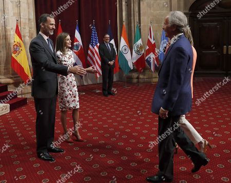 Spain's King Felipe Vi (l) and Queen Letizia Welcome Us Writer Richard Ford (r-front) Princess of Asturias Award For Literature 2016 Award-winner During the Audience They Granted to the Laureates of Princess of Asturias Awards 2016 in Oviedo Asturias Region Northern Spain 21 October 2016 the 36th Edition of the Princess of Asturias Awards Awarding Ceremony Will Be Held in Oviedo Later on the Day Spain Oviedo