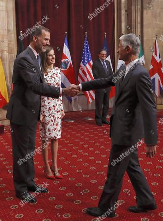 Spain's King Felipe Vi (l) and Queen Letizia Welcome Us Photographer James Nachtwey (r) Princess of Asturias Award For Communication and Humanities 2016 Award-winner During the Audience They Granted to the Laureates of Princess of Asturias Awards 2016 in Oviedo Asturias Region Northern Spain 21 October 2016 the 36th Edition of the Princess of Asturias Awards Awarding Ceremony Will Be Held in Oviedo Later on the Day Spain Oviedo