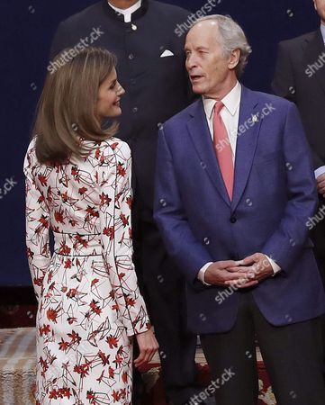 Spanish Queen Letizia (l) Chats with Us Writer Richard Ford (r) Winner of the Princess of Asturias Award For Literature 2016 Award During a Royal Audience Granted to the Laureates of Princess of Asturias Awards 2016 in Oviedo Asturias Region Northern Spain 21 October 2016 the 36th Edition of the Princess of Asturias Awards Awarding Ceremony Will Be Held in Oviedo Later on the Day Spain Oviedo