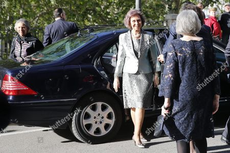 Stock Picture of Spanish Queen Sofia (2-r) and Her Sister Princess Irene of Greece (l) Are Welcomed by Zamira Menuhin Bentahll (r) Daughter of Late Us-born Violinist and Conductor Yehudi Menuhin Upon Their Arrival to a Charity Concert in Tribute to Yehudi Menuhin Held at the Queen Sofia Music School in Madrid Spain 13 May 2016 the Money Raised in the Concert Will Go For the Health Care of the Refugees Arrived to Greece Spain Madrid