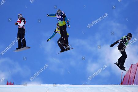 Czech Snowboarder Eva Samkova (l) French Chloe Trespeuch (2-l) and Nelly Moenne Loccoz (2-r) and Australian Belle Brockhoff (r) in Action During the Women's Final of the Snowboard Cross World Cup 2016 at the Ski Resort of Baqueira Beret Lleida Northeastern Spain 20 March 2016 Spain Baqueira Beret