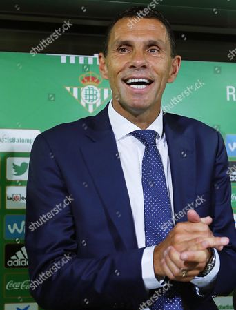 Real Betis' New Uruguayan Head Coach Gustavo Poyet Attends a Press Conference For His Presentation As New Coach of the Spanish Primera Division Soccer Club at Benito Villamarin Stadium in Seville Southern Spain 11 May 2016 Gustavo Poyet Signed a Two-year Contract with Real Betis Spain Seville