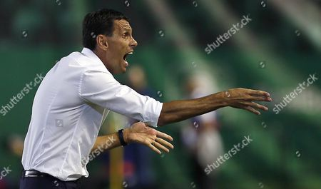 Betis' Coach Gustavo Poyet Gives His Players Directions During a Liga Santander 6th Journey Match at Benito Villamarin Stadium in Sevilla Andalusia Spain 23 September 2016 Spain Sevilla