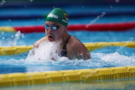 Lithuanian Swimmer Ruta Meilutyte in Action During the Women's 50m Breaststroke Final of the Ciutat De Barcelona Trophy Swimming Tournament at Sant Andreu Swimming Club in Barcelona Northeastern Spain 11 June 2016 Spain Barcelona