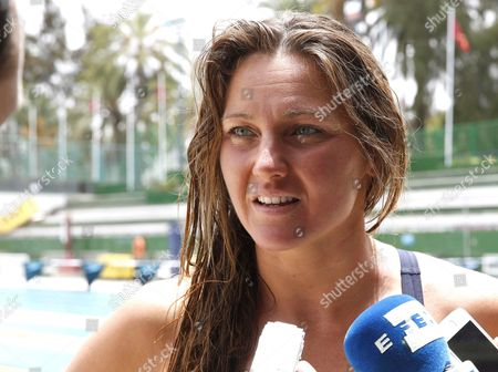 Spanish Swimmer Melani Costa Addresses the Media During a Training Session of the Spanish Olympic Swimming Team at Metropole Swimming Club in Las Palmas Canary Islands Spain 19 July 2016 Spain Athletes Prepare For Rio 2016 Olympic Games Spain Las Palmas