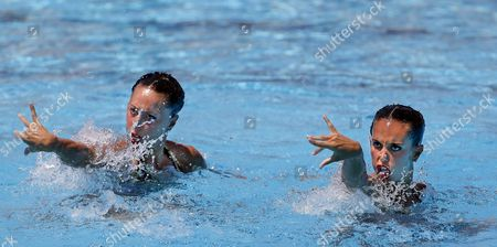 Spain's Ona Carbonell (r) and Gemma Mengual (l) Perform Their Free Duo Exercise During the Infantas Trophy Synchro Competition in Alicante Eastern Spain 02 July 2016 the Duo Will Compete in the Upcoming Rio 2016 Olympic Games Spain Alicante