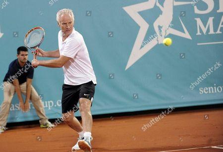 Us John Mcenroe Returns the Ball During Tenis Senior Master Cup Against Swedish Mats Wilander Played at Roman Bridge Tenis Club in Marbella Malaga Andalusia Spain 23 September 2016 Spain Marbella